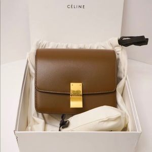 Celine small classic box bag - camel
